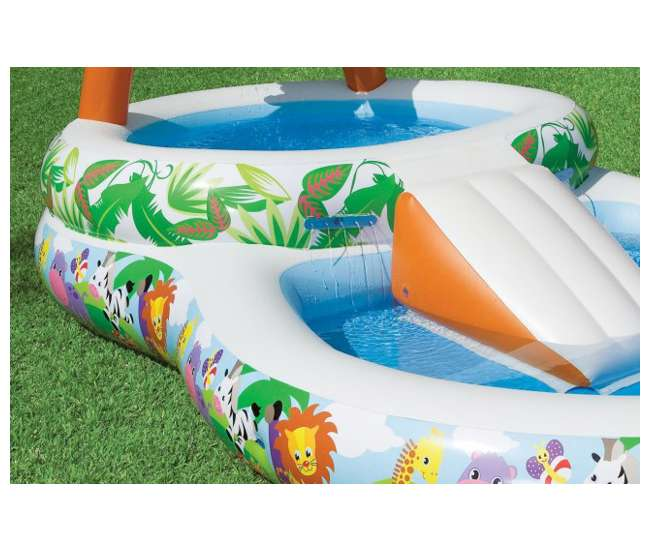 2 intex inflatable kids jungle play pool with slide for Quick up pool 120 hoch