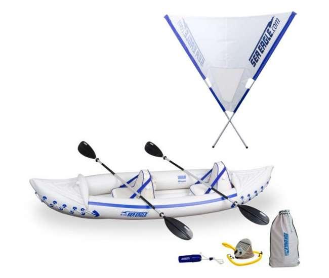 SE330K-PRO + QUIKSAILSea Eagle 330 Pro Kayak - Professional 2 Person Inflatable Canoe + Quiksail 45° Boat Sail