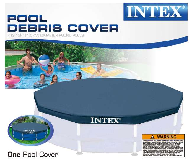 Intex 15 39 Round Frame Above Ground Pool Debris Cover With Drain Holes 28032e