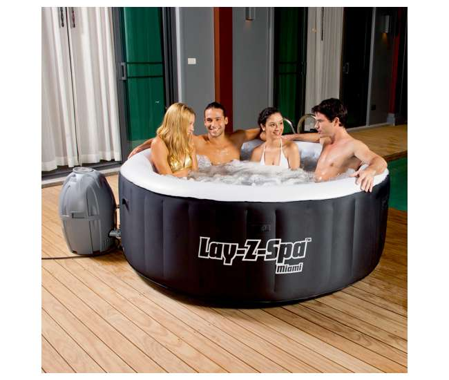 bestway lay z spa inflatable hot tub 54124e bw. Black Bedroom Furniture Sets. Home Design Ideas