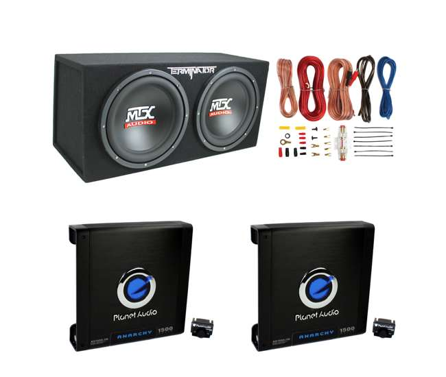 "AKS8 + 2 x AC15001M + TNE212D Planet Audio 1500W Mono Amplifier (2 Pack) & 12"" 1200W Loaded Sub Box & Wire Kit"