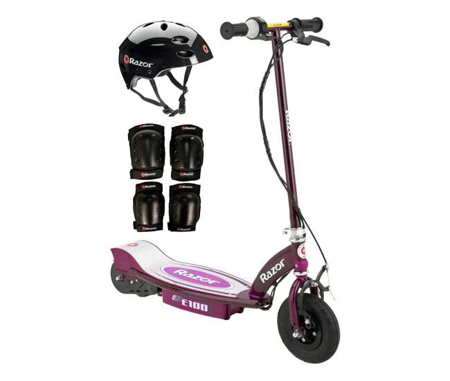 13111250 + 97778 + 96785 Razor E100 24V Electric Scooter (Purple) with Helmet, Elbow & Knee Pads