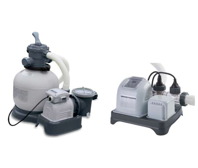28647EG(56673EG) + 28661EG(54605EG) Intex 1600 GPH Krystal Clear Sand Filter Pool Pump & Saltwater System