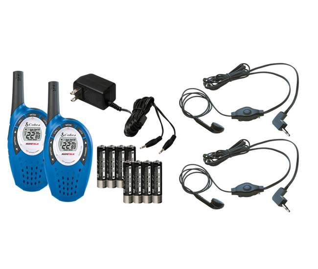 CXT237 + 2 x GA-EBM2 Cobra CXT 237 MicroTalk 20 Mile 22 Ch. Walkie Talkie 2-Way Radios (2) + Headsets (2)