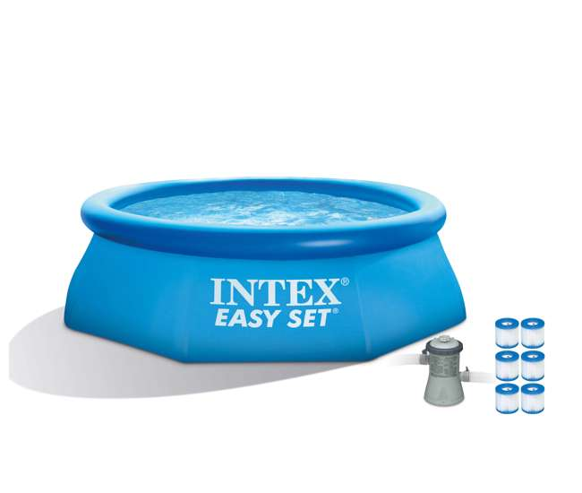 intex 8 39 x 30 easy set inflatable pool with 330 gph pump. Black Bedroom Furniture Sets. Home Design Ideas