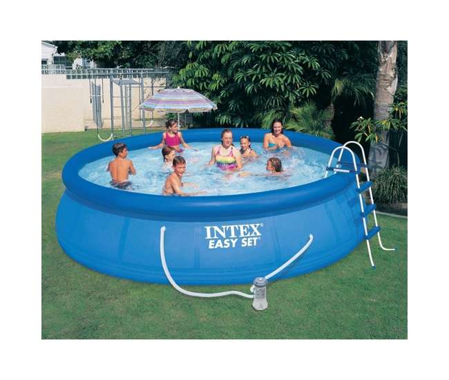intex 15 39 x 42 easy set pool complete kit with filter. Black Bedroom Furniture Sets. Home Design Ideas