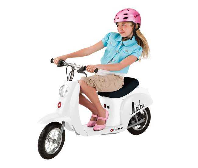 15130608 + 97778 + 96785 Razor Pocket Mod 24V Electric Retro Scooter, Kids Helmet, & Elbow & Knee Pads