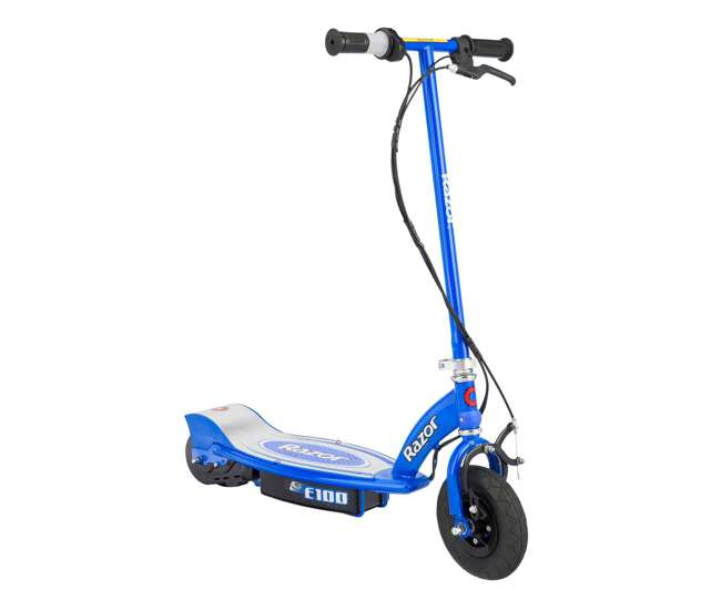 13111240 + 97778 + 96785 Razor E100 Electric Scooter (Blue) with Helmet, Elbow & Knee Pads