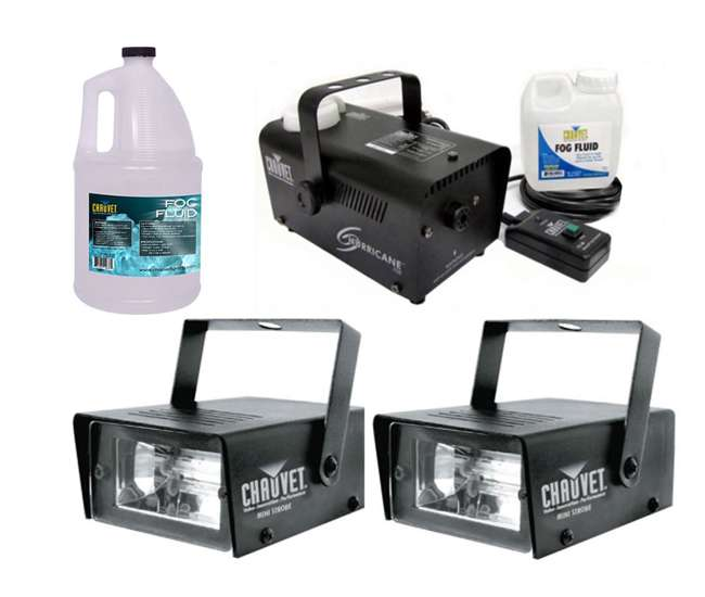 MINISTROBE-LED + H700 + FJU Chauvet CH-730 Mini Strobe Lights (2) + H700 Fog Machine + Fog Fluid