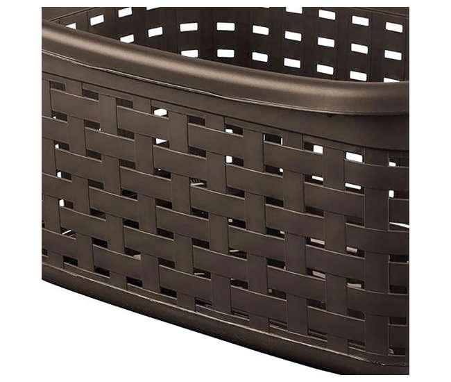 112756P06 Sterilite Plastic Weave Laundry Storage Basket, Espresso (12 Pack)