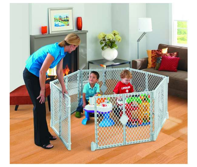 8669 North States Superyard Classic Baby and Pet Gate Play Yard, Light Gray