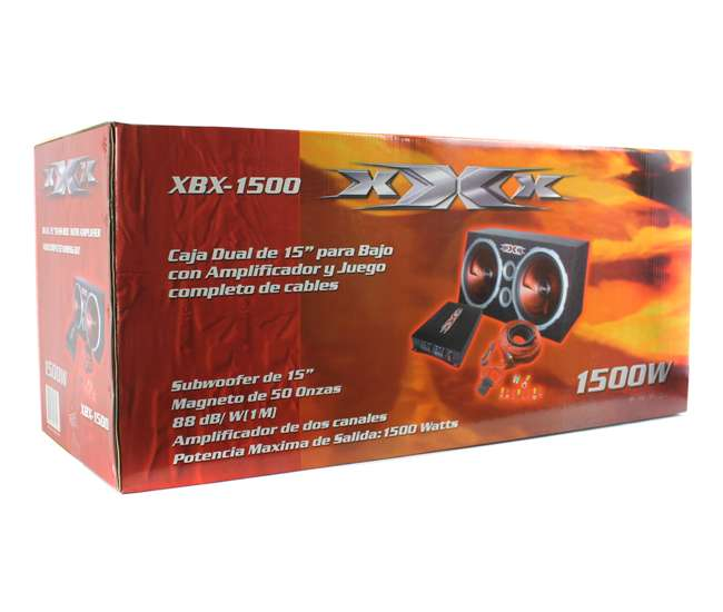 "XBX1500 XXX 15"" Dual Subwoofers, Amplifier, Amp Kit & Box 