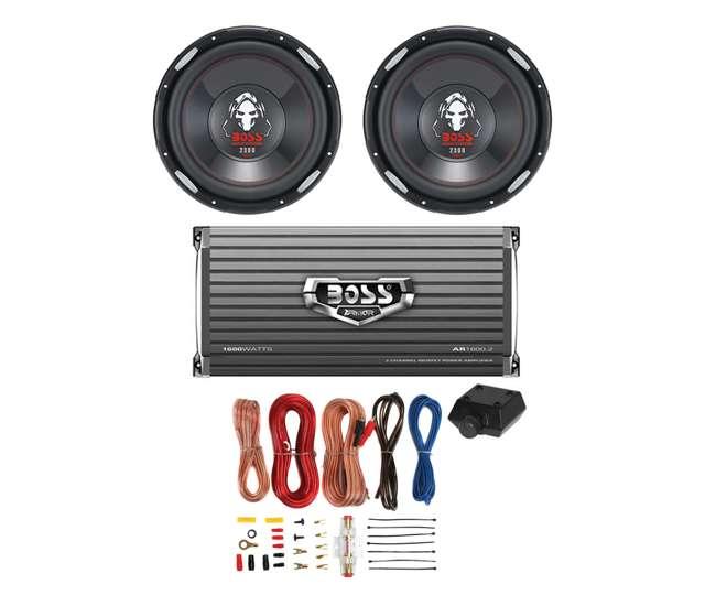 """P126DVC + AR16002 + AKS8 2 BOSS P126DVC 12"""" 2300W Car Subwoofers Subs + 1600W 2-Ch Amp + 8 Gauge Amp Kit"""