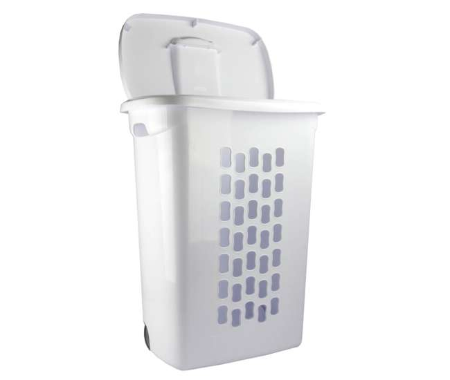 Sterilite White Laundry Hamper With Lift Top Wheels And