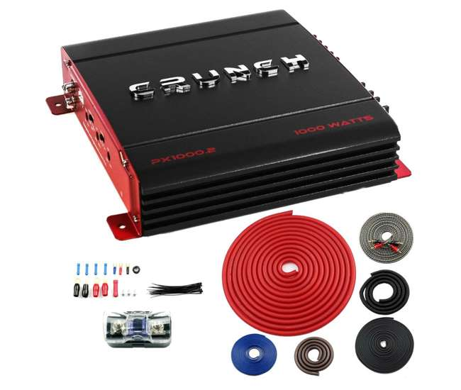 PX-1000.2 + BGE4RB Crunch PX-1000.2 2 Channel 1000W Amp A/B Class Amplifier with 4 Gauge Kit