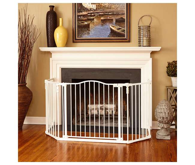 4954S North States Deluxe Decor Baby / Pet Metal Gate - Linen 38-72 Inches Wide| 4954S