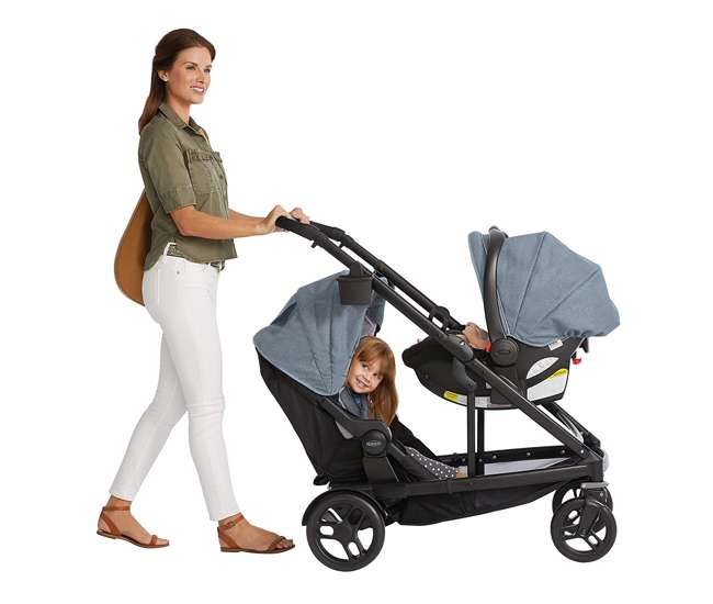 2032495 Graco UNO2DUO Baby Single Double Stroller & Infant Car Seat Travel System, Hazel
