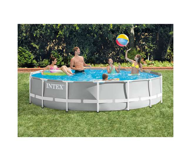 26723EH + 28032E Intex 15 Foot Prism Frame Pool Set with Debris Cover