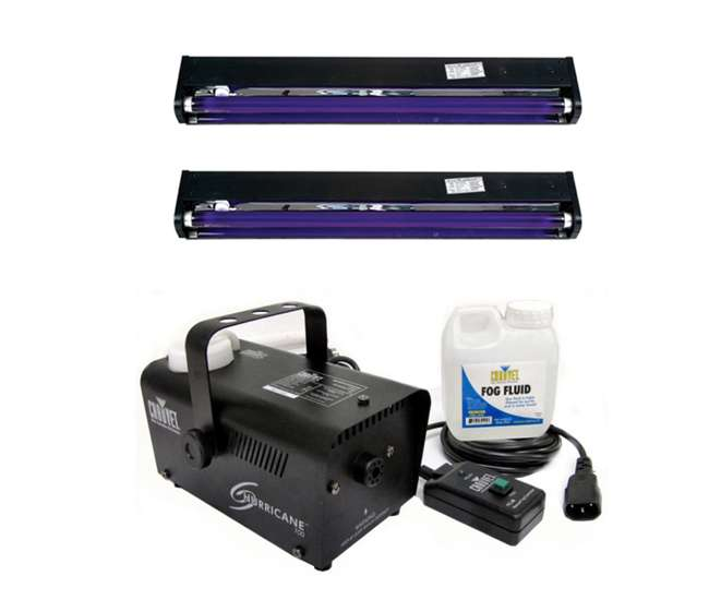 H700 + 2 x BLACK-24BLB Chauvet H700 Hurricane Pro Fog Machine H-700 + (2) AMERICAN DJ UV Blacklights