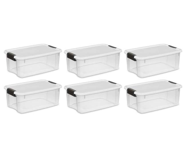 6 x 19849806 6 Pack Sterilite 18 Quart Ultra Latch Storage Box with White Lid & See-Through Base