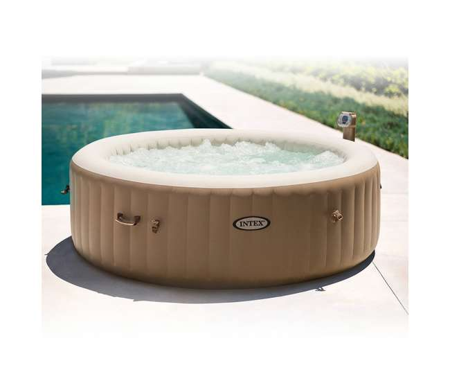 intex inflatable pure spa 6 person portable heated bubble jet hot tub 28407e. Black Bedroom Furniture Sets. Home Design Ideas