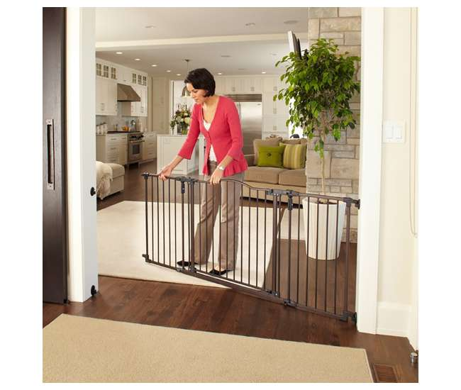 4934 + 4938 North States Deluxe Decor Baby and Pet Metal Gate + Extension