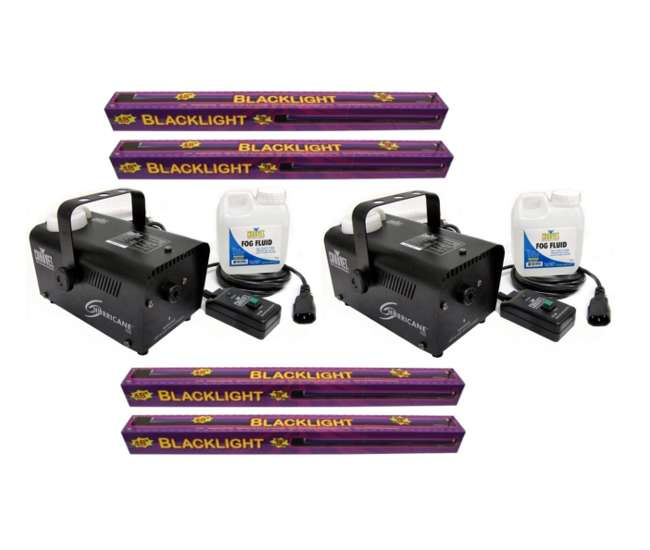 4 x 61272 + 2 x H700 Chauvet H 700 Fog Machines (Pair) + 48-Inch UV Black-Lights (4)