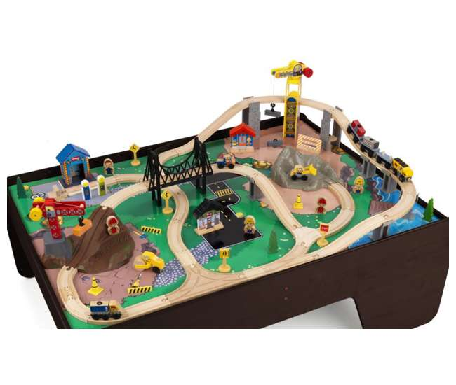 17962 KidKraft Hard Hat Highway Wood Train Table & Toy Set