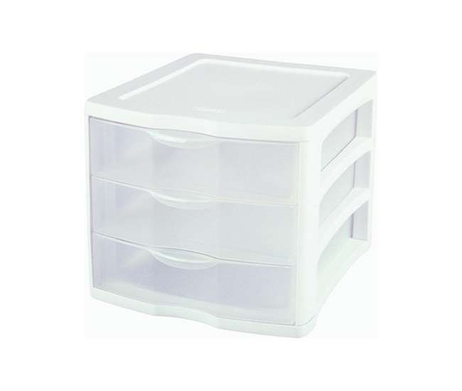 4 x 17918004 4 pack Sterilite 17918004 ClearView Portable 3 Storage Drawer Organizer Cabinets