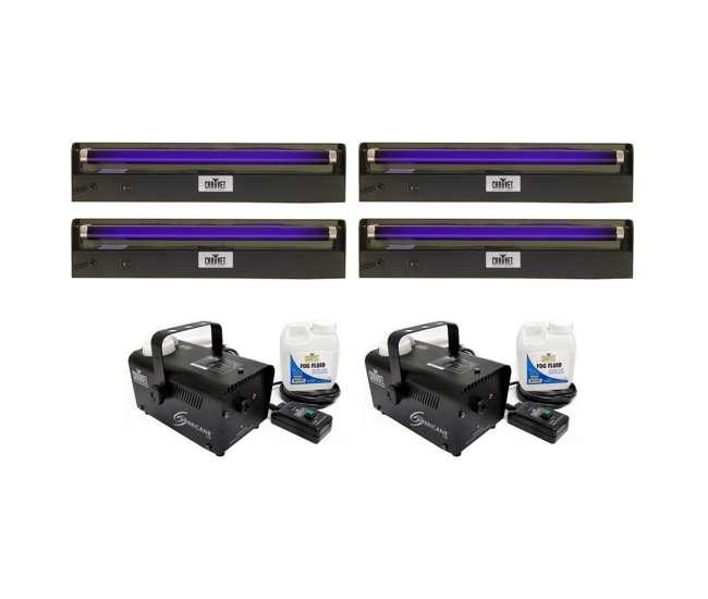 4 x NV-F18 + 2 x H700Chauvet 4 NV-F18-Inch UV Black-Lights with 2 H700 Fog Machines (Pair)