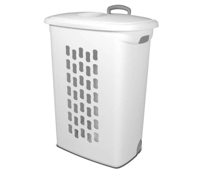 sterilite white laundry hamper with lift top wheels and pull handle 12228003. Black Bedroom Furniture Sets. Home Design Ideas