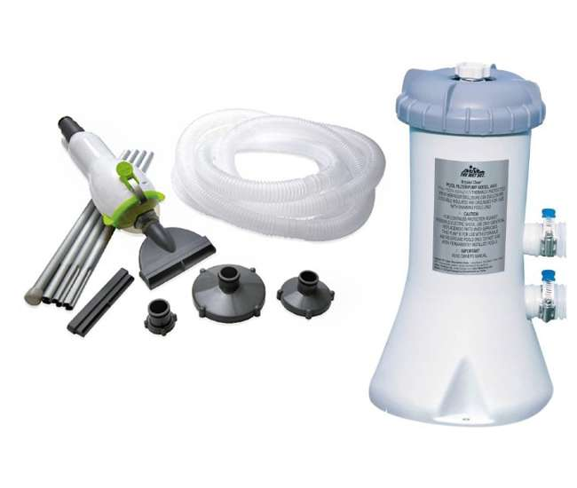 Intex 530 Gph Easy Set Swimming Pool Filter Pump Skooba Vac Vacuum Combo 28603eg Skooba