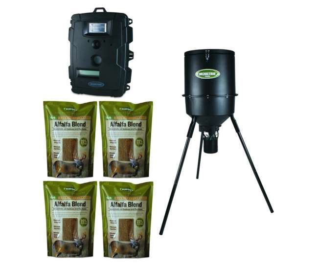 PHB30B + 4 x MFH-S4 + D50-CameraMoultrie Game Spy D-50 Camera + 30 Gallon Pro Hunter Tripod Feeder + 4 Alfalfa Feed Packages