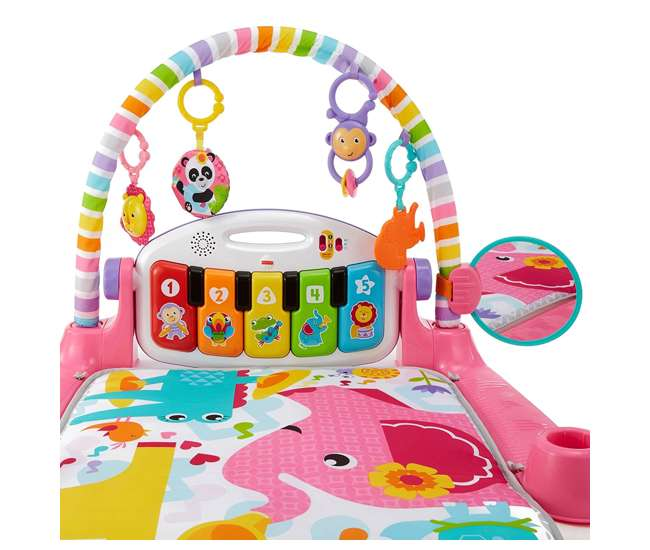 FGG46 Fisher-Price Deluxe Kick 'n Play Musical Piano Gym with Soft Mat, Pink