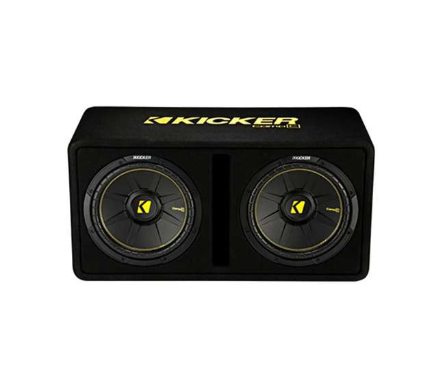 44DCWC122 + R1100M + 4GAMPKIT-SFLEX Kicker 44DCWC122 12-Inch 1200W Subwoofer Enclosure with Mono Amplifier