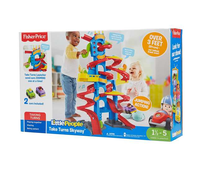 GGD39 Fisher-Price Little People Take Turns Skyway 3 Foot Tall Kid's Racer Toy Playset