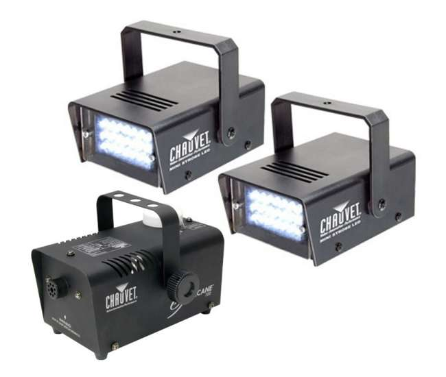 H700 + 2 x MINISTROBE-LED Chauvet DJ LED Mini Strobe Lights (2 Pk) + Hurricane 700 H-700 Fog Smoke Machine