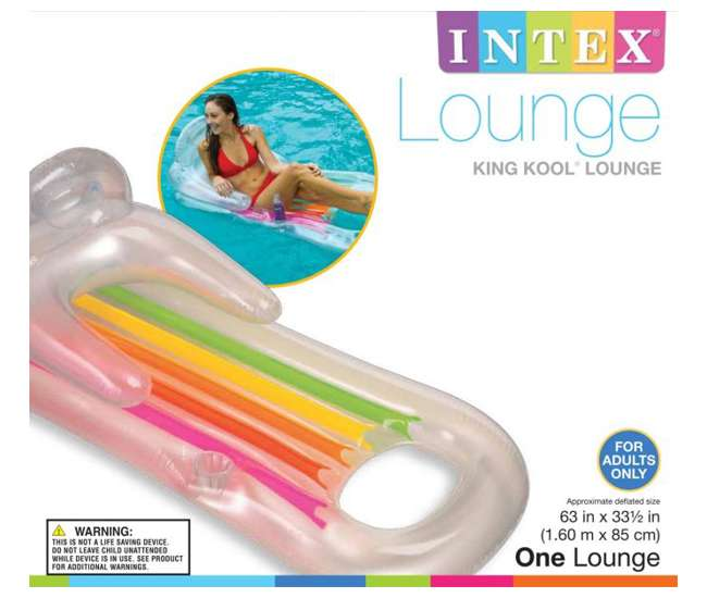 58802EP Intex King Kool Swimming Pool Lounger with Headrest (Pair)