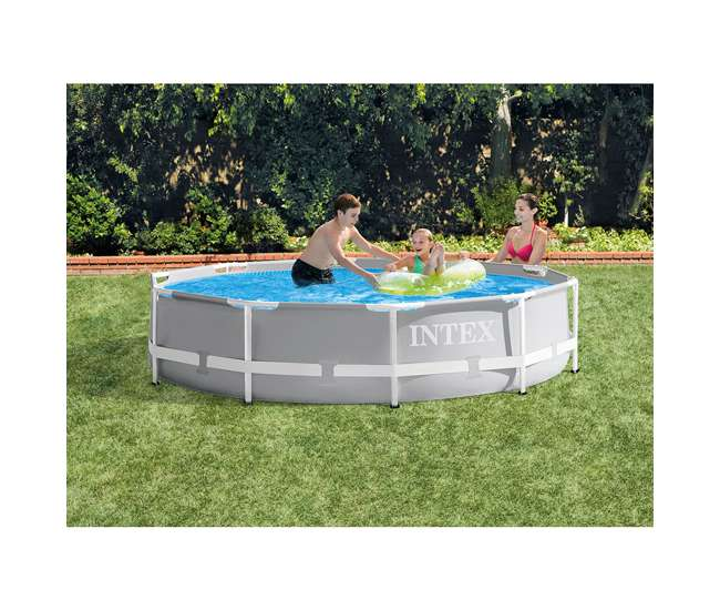 26701EH Intex 10ft x 10ft x 30in Pool w/ 10 Foot Round Pool Cover and Filter Cartridge