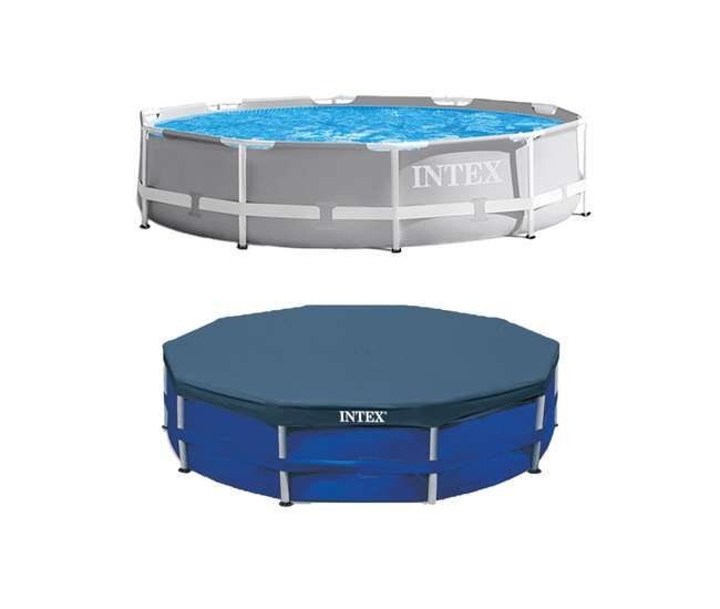 26701EH + 28030E Intex 10 Foot x 30 Inches Pool w/ 10-Foot Round Cover