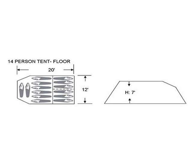 LDH020-12E Tahoe Gear Glacier 14 Person 3-Season Family Cabin Tent - Used