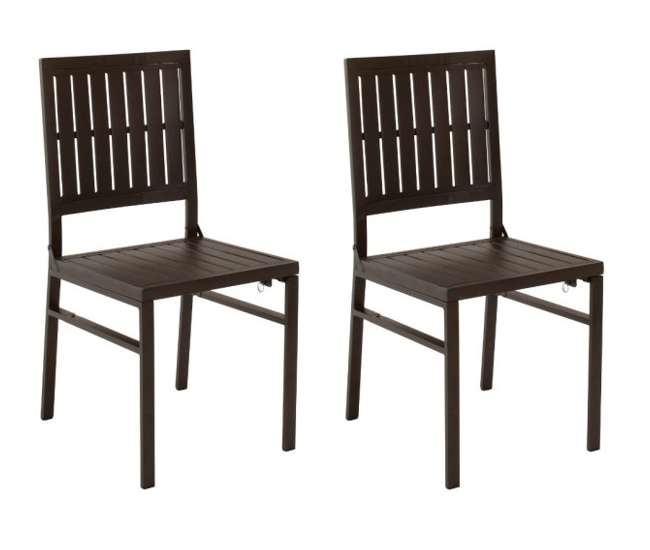 87211SBD2E COSCO Smartfold Metal Outdoor Furniture Folding Slat Dining Chair - Set of 2