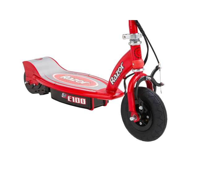 13111260 + 97778 Razor E100 Kids Motorized 24 Volt Electric Powered Ride On Scooter with Helmet