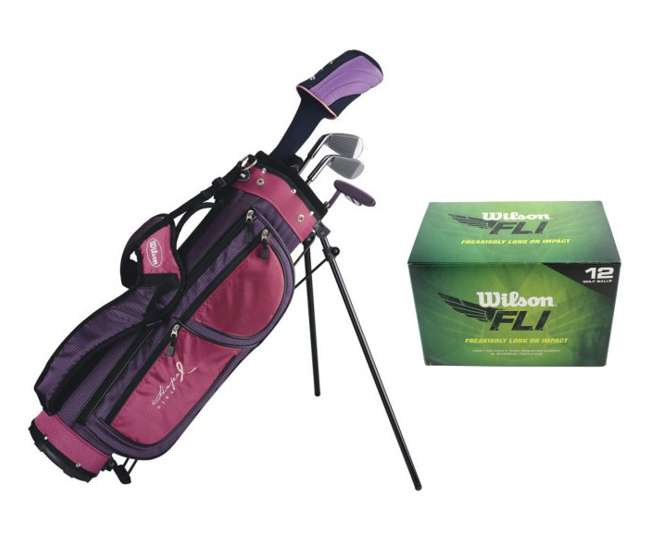 WGGC6806 + WGWR56500Wilson Junior Golf Set | Girls Hope Golf Club Set w/ Bag + 1 Dozen FLI Balls