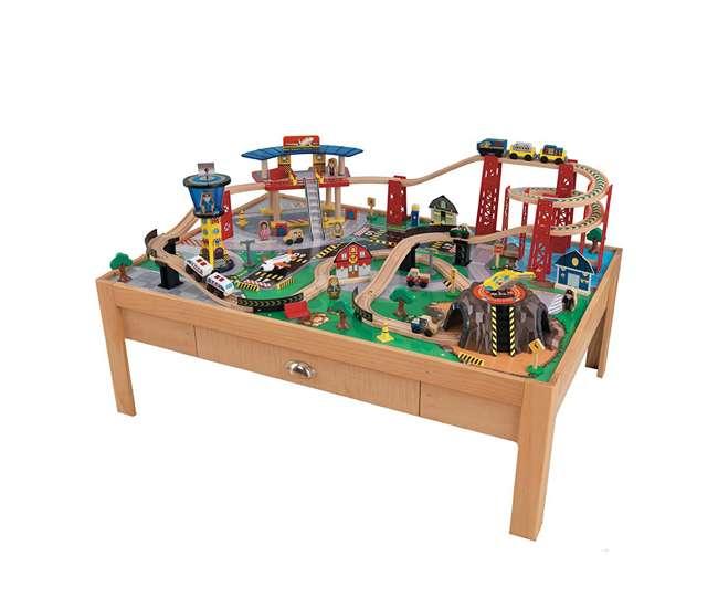 KDK-17975 KidKraft Airport Express Wood Train Table & Toy Set | 17975