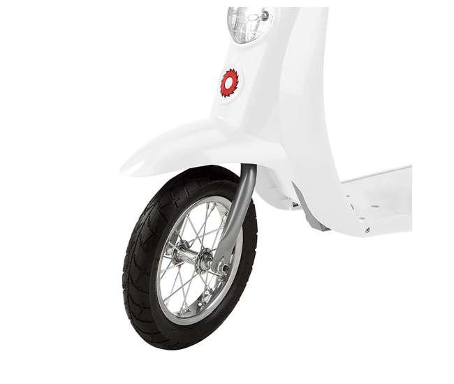 15130608 + 97778 Razor Pocket Mod Miniature Electric Scooter, White + Razor V17 Youth Sport Helmet, Glossy Black