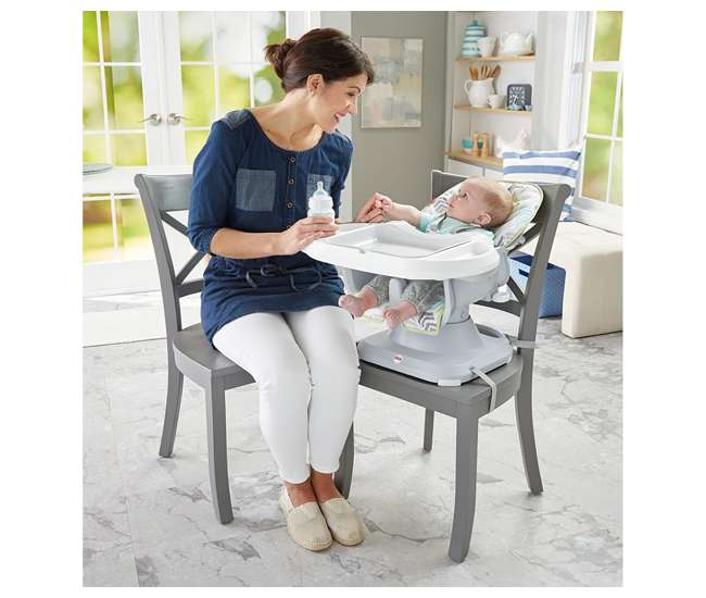 DRF75 Fisher-Price SpaceSaver 2-in-1 Infant High Chair/Toddler Booster Seat, Green