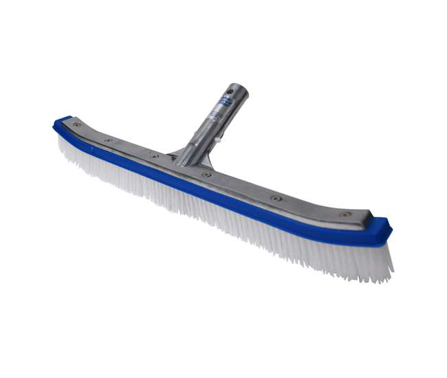 B3518 + 8356M Blue Devil 18 Inch Pool Wall Cleaning Brush Head + 5 to 15 Foot Telescopic Pole