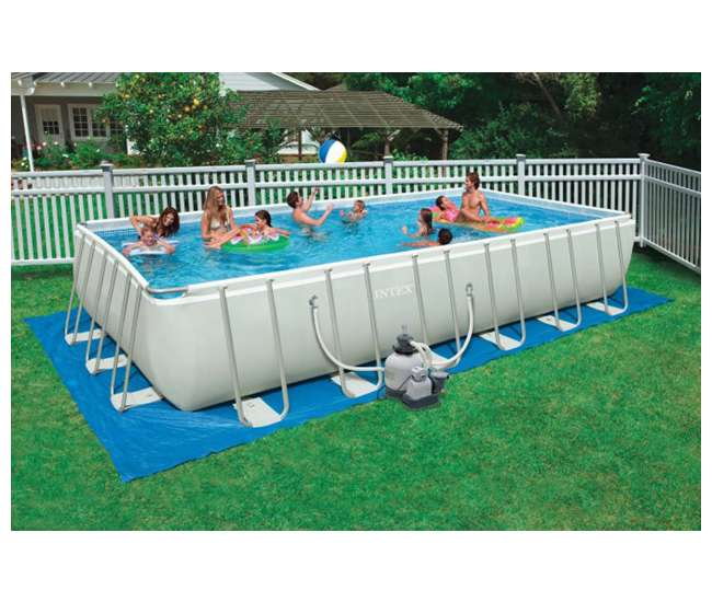 Intex 24 39 x 12 39 x 52 ultra frame rectangular swimming pool set 28361eh 2 x 58868ep for Intex rectangular swimming pool