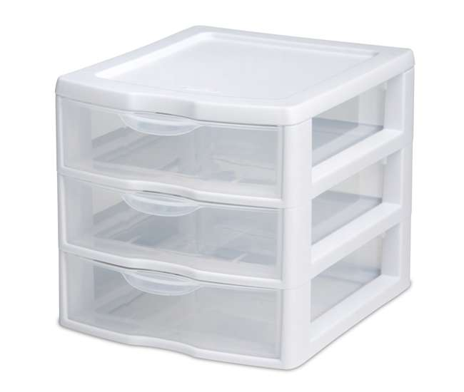 6 x 2073 6) Sterilite 20738006 Small Compact Countertop 3 Drawer Desktop Storage Unit